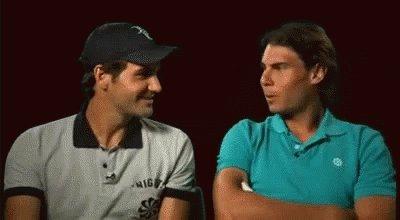 Novak Djokovic'in #USOpen kazanamadığını gören Nadal ve Federer anlık 😂