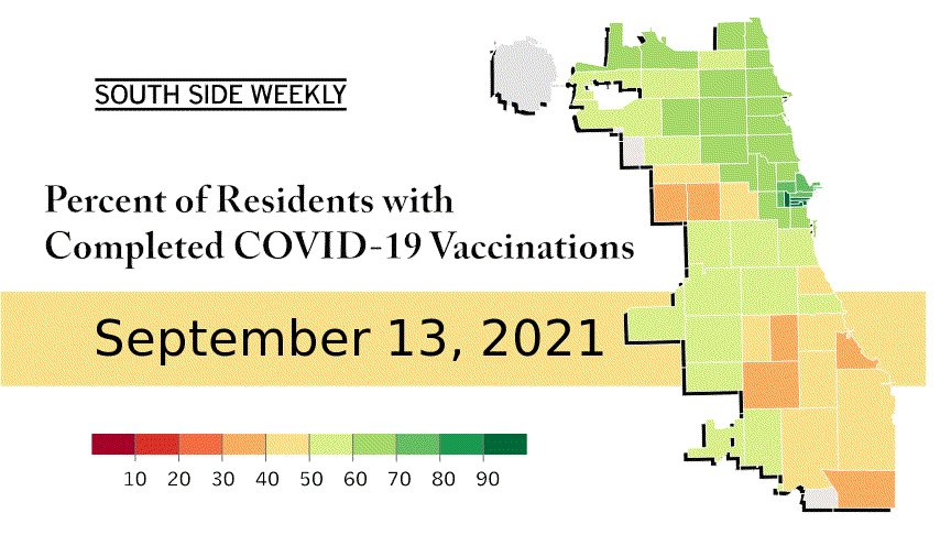 The animated gif shows a map of Chicago with vaccination
