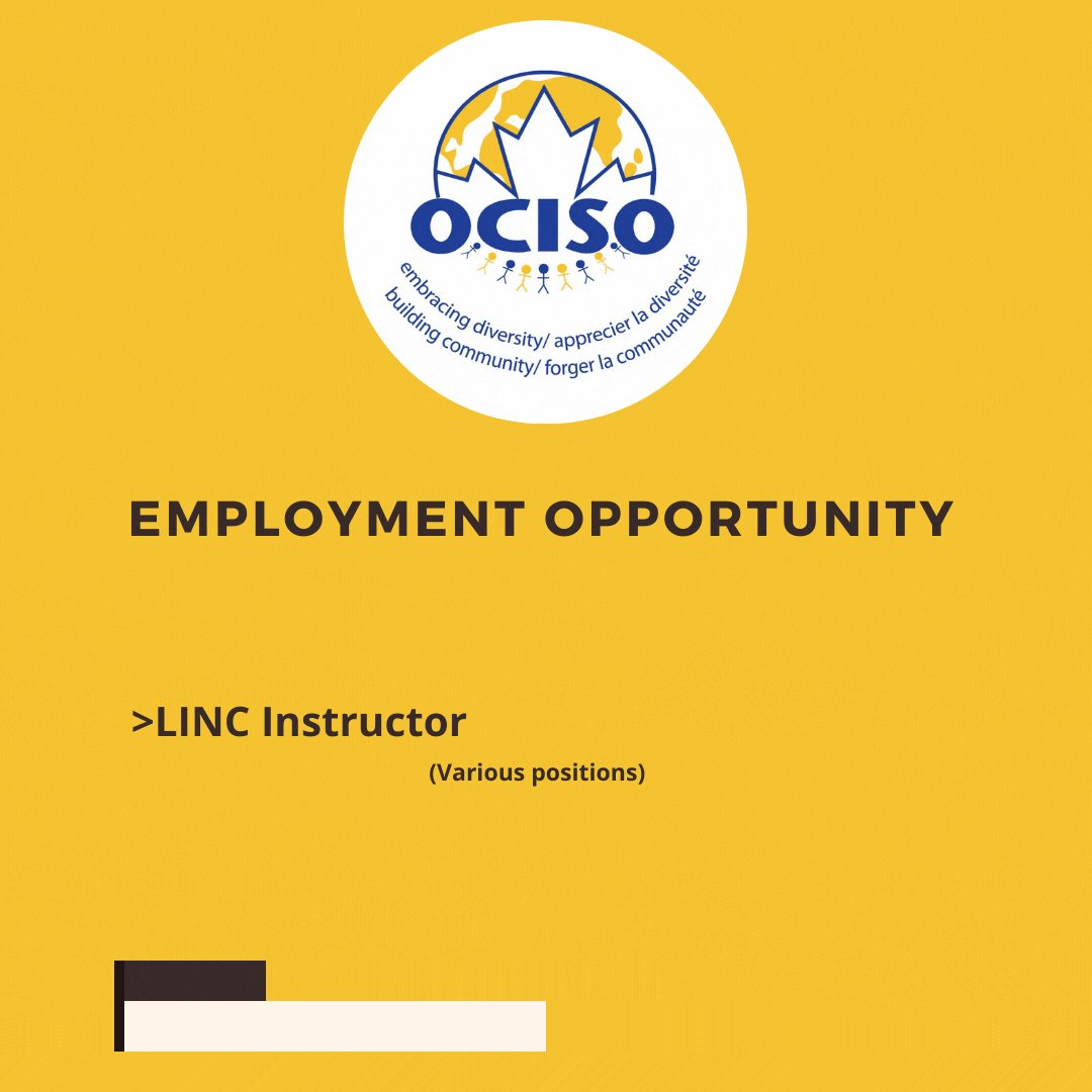 Image for the Tweet beginning: #JobOpportunity  OCISO is looking for:  A LINC