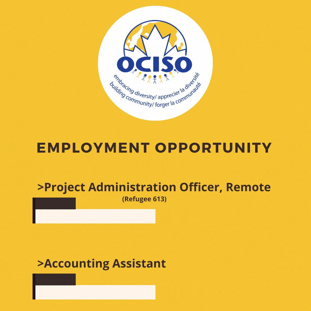 Image for the Tweet beginning: #JobOpportunity  OCISO is looking for:  1️⃣ A