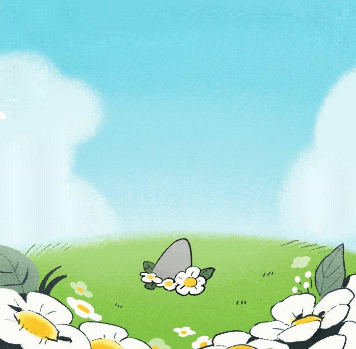 お花畑と子ザメ
