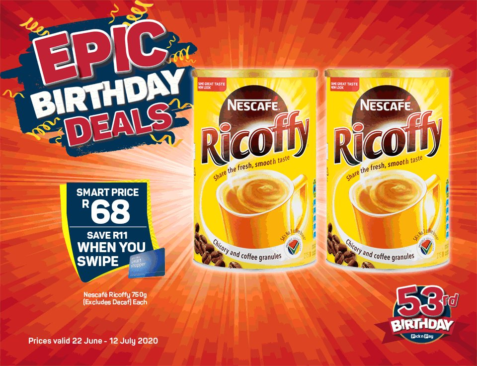 We're celebrating Pick n Pay's Birthday with EPIC DEALS, on from 22 June to 12 July 2020.> bit.ly/2YekLx8