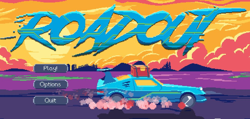 We updated our title screen,  you liked it?   #roadout #pixelart #aseprite #gm2 #gamemaker #indiegame #gamedev #indiegamedev   🚗💨 https://t.co/b1VrlqPs8g