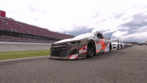 A beautiful sight. Cars have been refired at @TalladegaSuperS and are rolling back onto the track.