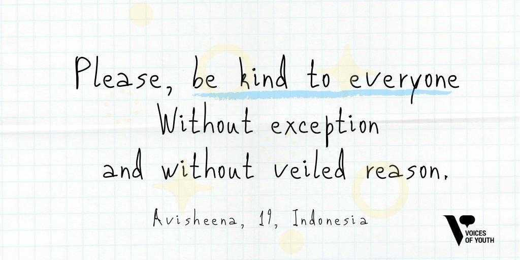 RT @voicesofyouth: Together, let's reimagine a kinder world #tuesdayvibes https://t.co/jvPIO5UXFY