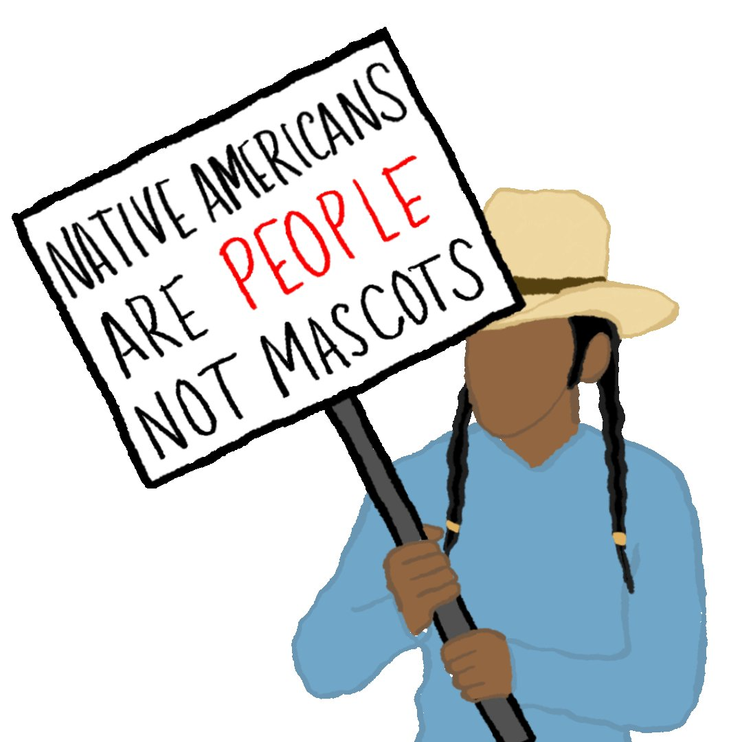 Natives are people, not mascots. All Native mascots are dehumanizing, studies have shown there is no benefit to Native peoples. It also encourages racist fan behavior, like redface.   Spread the word!  Download gifs here:   #NotYourMascot