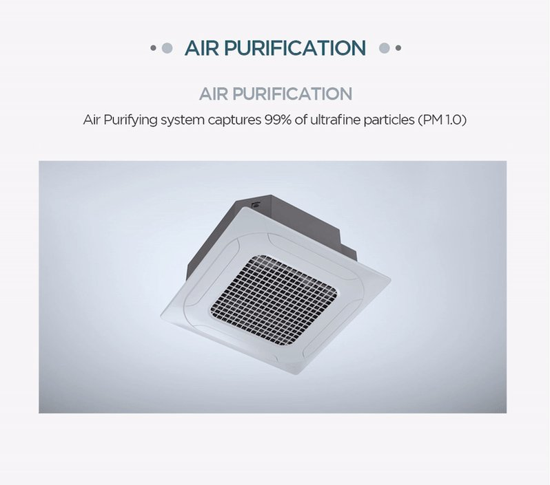 Dual Vane 4 way cassette from LG with the optional air purification kit. Buy once, clean forever with a simple wash with water. Available on single split and #VRF systems.   https://t.co/KnxYQ3QulG   #HVAC #IAQ https://t.co/tZ4GLA1PJg