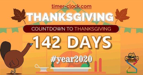 142 DAYS UNTIL THANKSGIVING 2020 🦃  👉 https://t.co/VUTE8SD21g . . .  #Thanksgiving #countdown #happythanksgiving #recipeoftheday #Thanksgiving2020 #ThanksgivingPieFight #ThanksgivingDay https://t.co/oGv96VzHVP