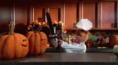 The Swedish Chef checks to make sure these pumpkins aren't actually cake
