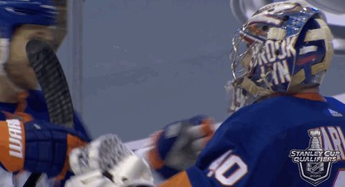 RT @NHLGIFs: Hug your goalie if you took a 2-0 series lead 🤗🤗🤗 #StanleyCup Qualifiers @NYIslanders https://t.co/o3ChoFxKS7