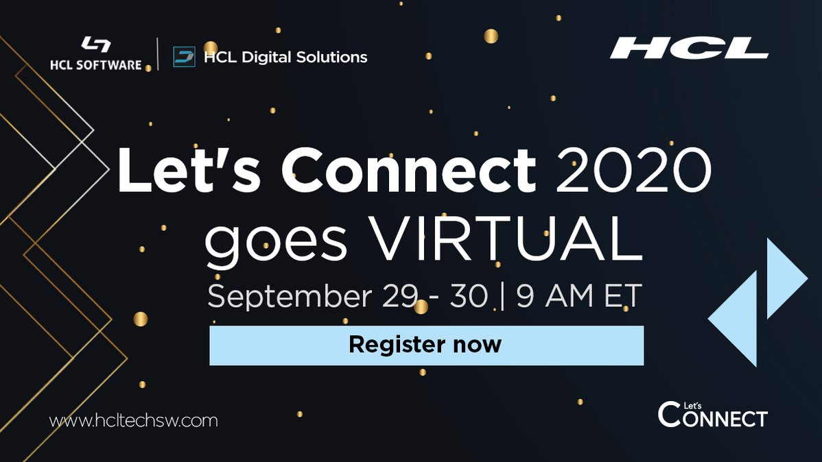 We're excited💃. #LetsConnect 2020 is a virtual event. Join from your home! Tune in and get a peek 👀 into the future of #HCLConnections. https://t.co/lpNe2zoHQ0