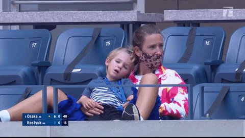 .@vika7 supporting @naomiosaka? Cute.  Vika supporting Naomi while cuddling with little Leo? Cutest. 😍  #USOpen https://t.co/XPRV6aGUcy