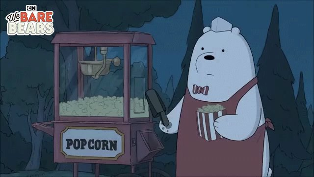 Ice Bear is here. Ice bear will start the movie. #CNWatchParty #WeBareBears