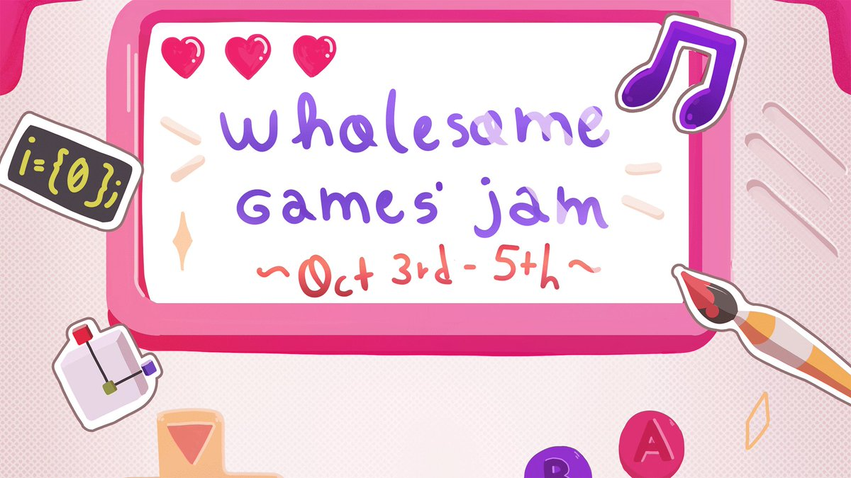 Get ready for the first-ever Wholesome Games Jam! ⏰ 48-hour event 📅 Begins October 3rd 🎨 All skill levels Theres no competitive element, so focus on making wholesome games and meeting new friends! @itchio: itch.io/jam/wholesome-… @discord: discord.gg/hCfc37p
