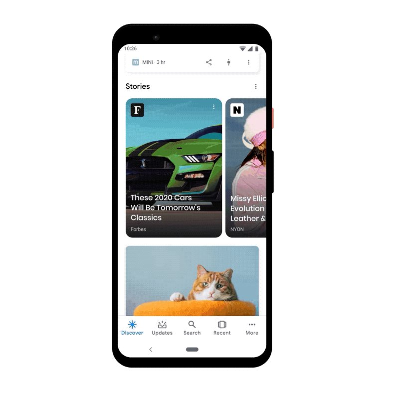 Grab your phone, we've got big news!  We just launched Web Stories on Discover, which you'll find on the Google app across iOS and Android. The Stories carousel sits near the top of Discover and helps you find the best stuff on the web.  Learn more →