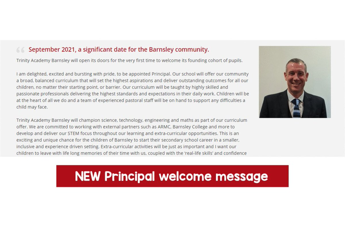"NEW principal welcome message on our website!   ""I am delighted, excited & bursting with pride, to be appointed Principal. Our school will offer our community a broad, balanced curriculum..."" 💬   Read on our homepage: https://t.co/MGh3Jm5569  🔺 Apply by 31st October! #Barsnley"