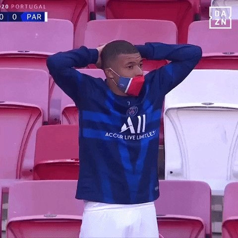 Mbappe after finding out that Ronaldo tested positive for COVID-19.