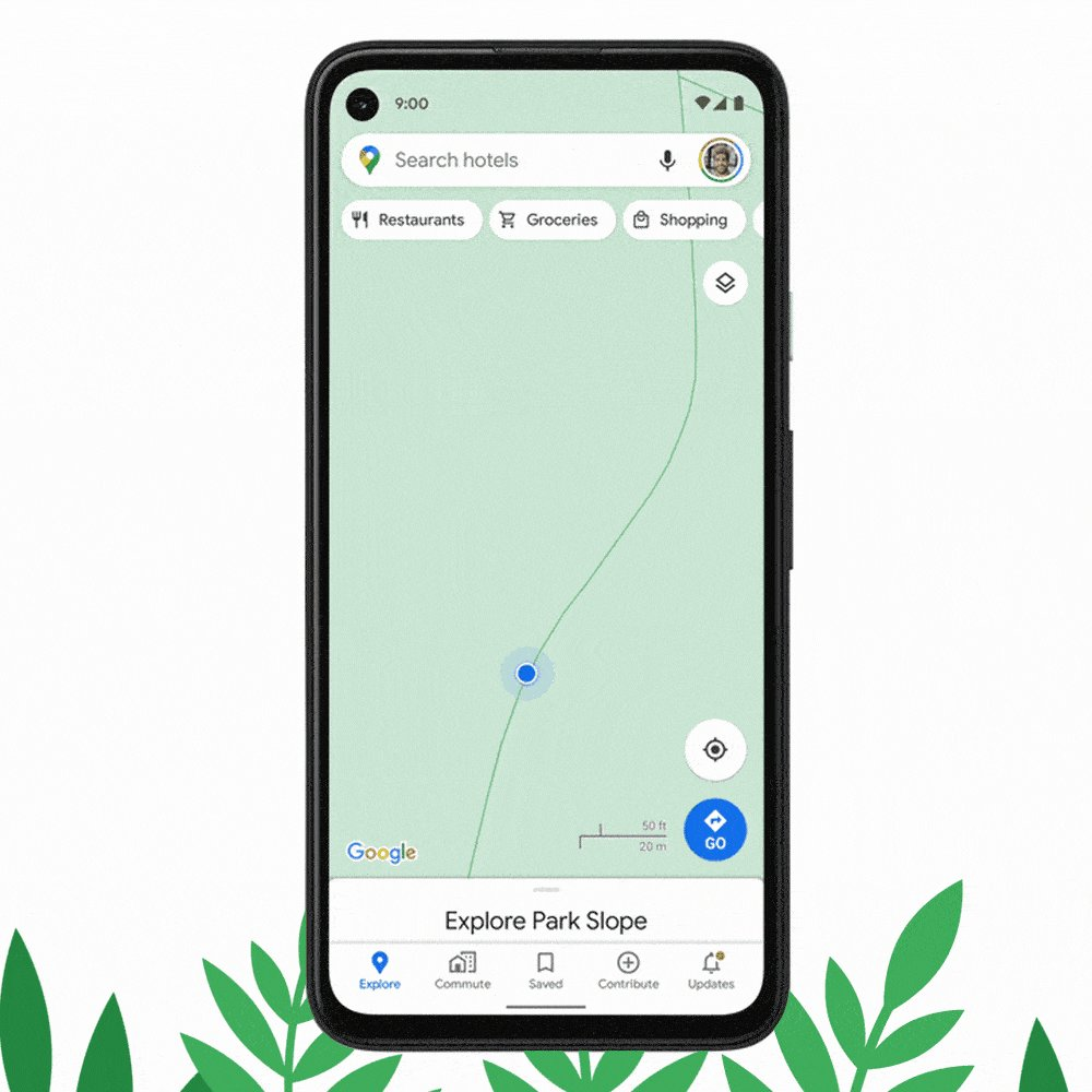 """Can't find your friend who's """"standing right by the tree?""""  Next time someone shares their location with you, Live View will help you get to them more easily. Available soon on Android and iOS."""