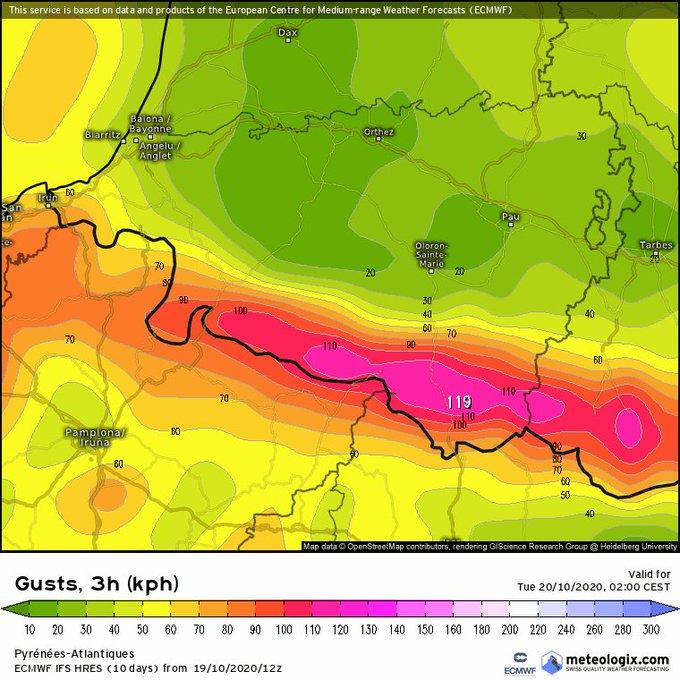 Mucho cuidado en todo el Pirineo con el viento sur mañana y el miércoles, especialmente durante la noche del martes al miércoles con rachas que pueden superar los 150km/h en la vertiente norte del Pirineo.