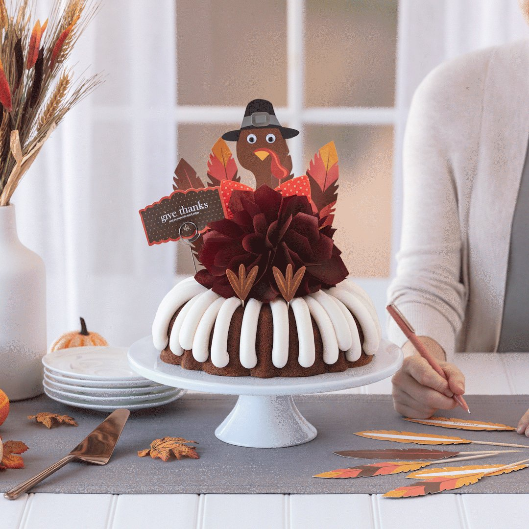 """.@nothingbundt's NEW """"Give Thanks"""" Decorated Cake makes the perfect centerpiece for your holiday gatherings. Order yours today at #NothingBundtCakes at #ParkWestVillage!"""
