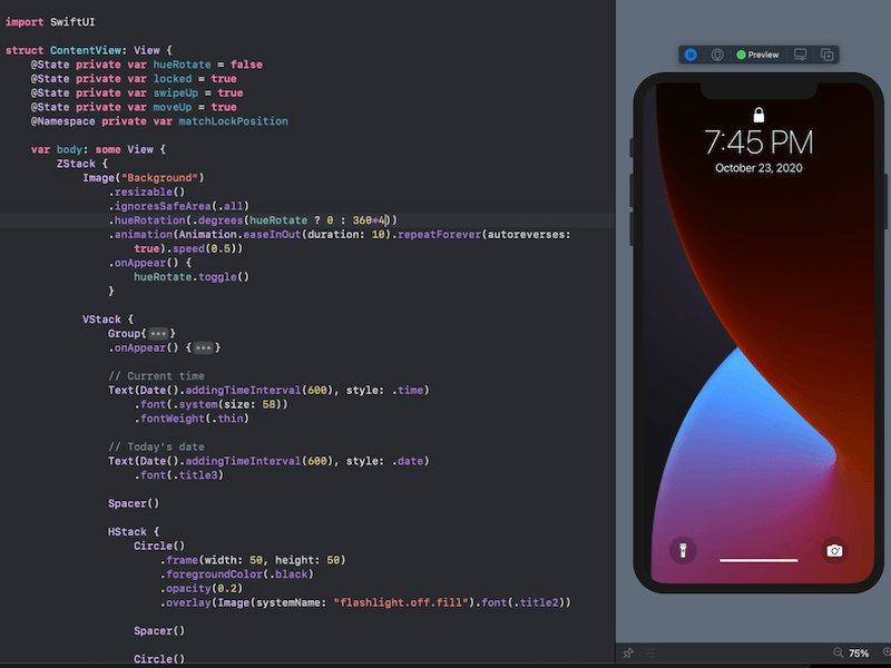Image for the Tweet beginning: #SwiftUI: Animate iPhone Lock Screen