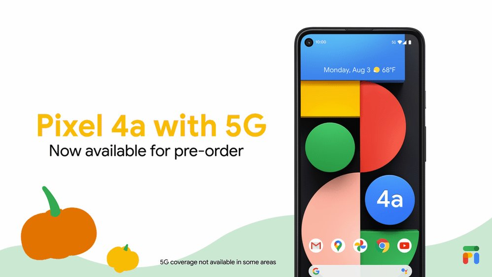 Harness 5G speed nationwide on Fi at a great price with Pixel 4a (5G).   Now available for pre-order, just $499 →  @madebygoogle
