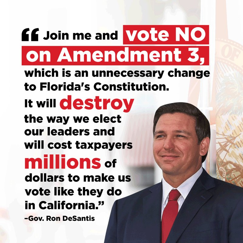 Image for the Tweet beginning: Join @GovRonDeSantis and vote NO