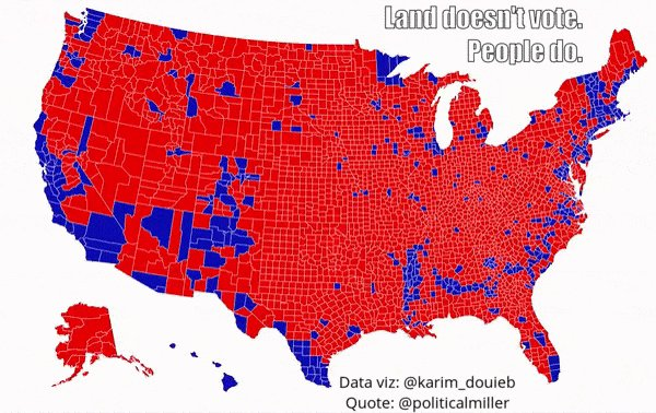 Replying to @BettinaForget: Data visualization insights: Land doesn't vote. People do. #USElection2020