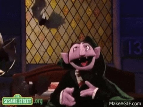 The Count from Sesame Street saying every vote will be count