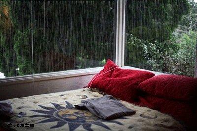 bed raining GIF