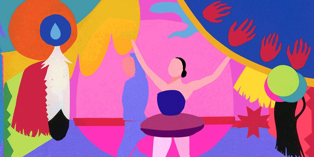 """""""It's important to draw light to not only her achievements as an Osage woman but her achievements—period."""" —Osage guest artist Lydia Cheshewalla  Thank you, @GoodWithCoffee, for creating The Nutcracker backdrop in today's Maria Tallchief #GoogleDoodle! →"""