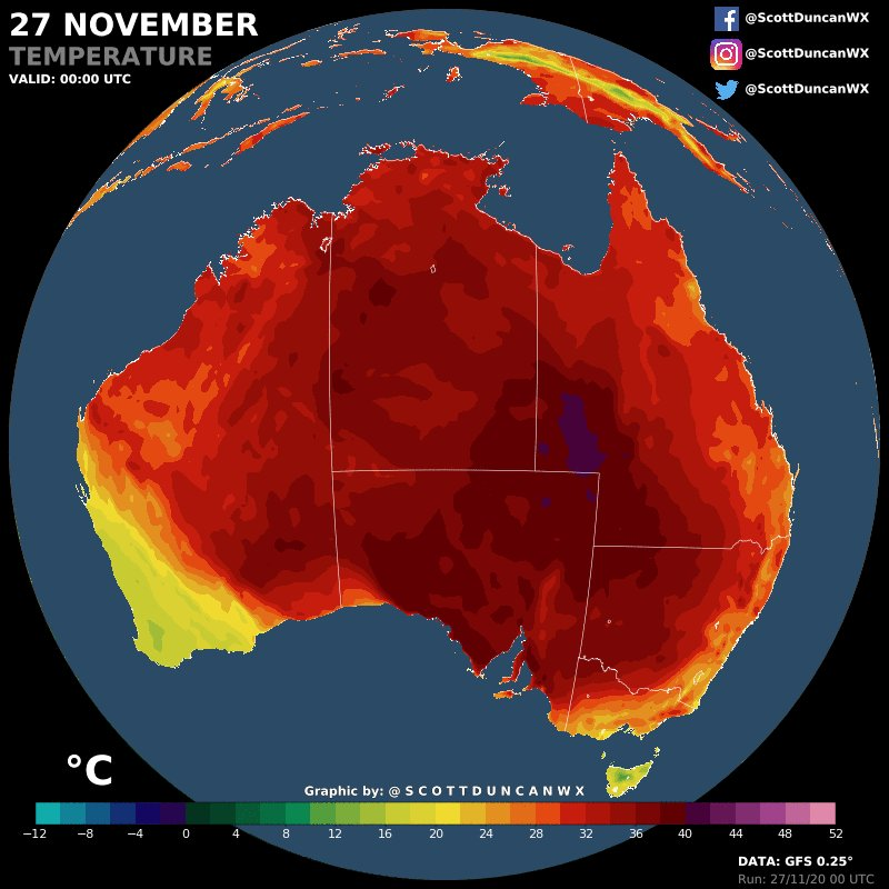 Australia 🇦🇺 will be hitting the furnace in the coming days.  Victoria absolute maximum temperature for November (45.5 °C, 113.9 °F) could be beaten.  Summer is just around the corner for our friends south of the equator.  h/t @extremetemps
