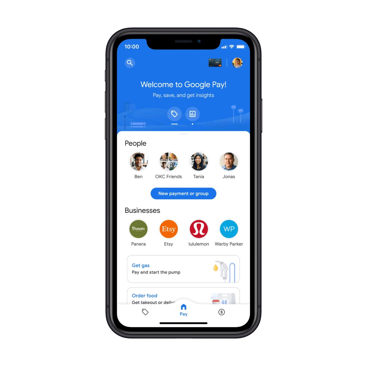 Pay for 🥪  & ⛽ , explore your offers, then get insights on your spending. 🔎  Happy swiping through the new #GooglePay!