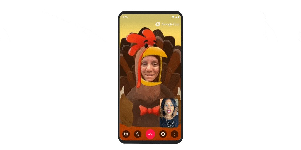 Add some extra gobble to your Thanksgiving. 🦃 Stay in touch with your friends and family this week with Google Duo's new turkey filter →