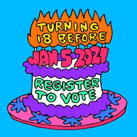 @DemocracyDocket 🍑ATTENTION GEORGIA YOUTH🍑  Also if you are turning 18 before January 5th please go #RegisterToVote now!