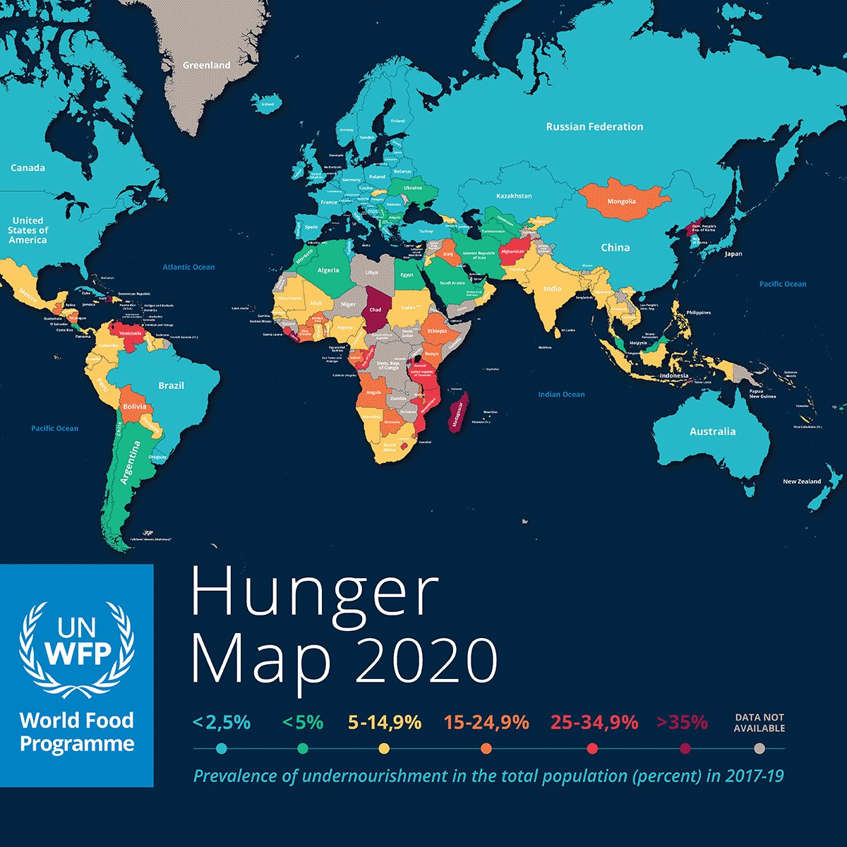 @GlobalGoalsUN: As more go hungry and malnutrition is on the rise, achieving Goal 2 of the #GlobalGoals, #ZeroHunger, by 2030 is in doubt and #COVID19 is making it worse. @WFP's #HungerMap depicts the prevalence of undernourishment by country 🗺️  ➡️ …