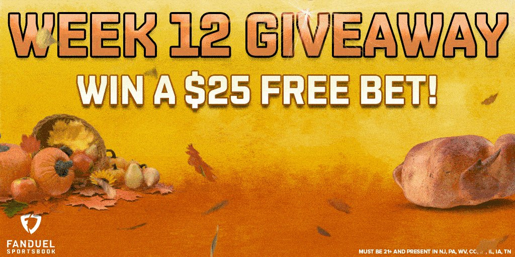 🚨 GIVEAWAY 🚨  Want to win a $25 free bet? 🤑  For your chance to win:  ① RETWEET ② FOLLOW us: @FDSportsbook ③ REPLY with a Thanksgiving GIF 🦃  Five randomly selected winners will be chosen on Tuesday 12/1  Rules:
