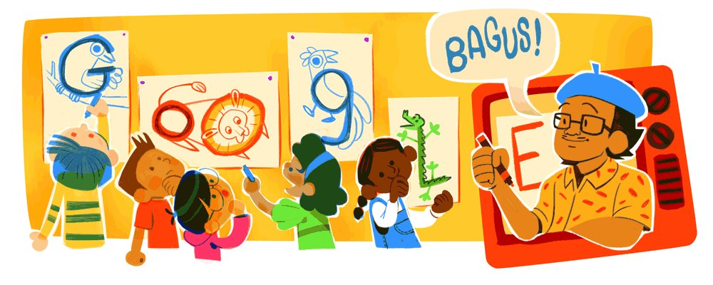 """Indonesian artist & teacher Tino """"Pak Tino"""" Sidin nurtured the creative talents of a generation of young children & introduced them to the joy of drawing ✍️  Happy birthday, Pak Tino! Ya, bagus!   #GoogleDoodle 🎨 by guest artist Shanti Rittgers →"""