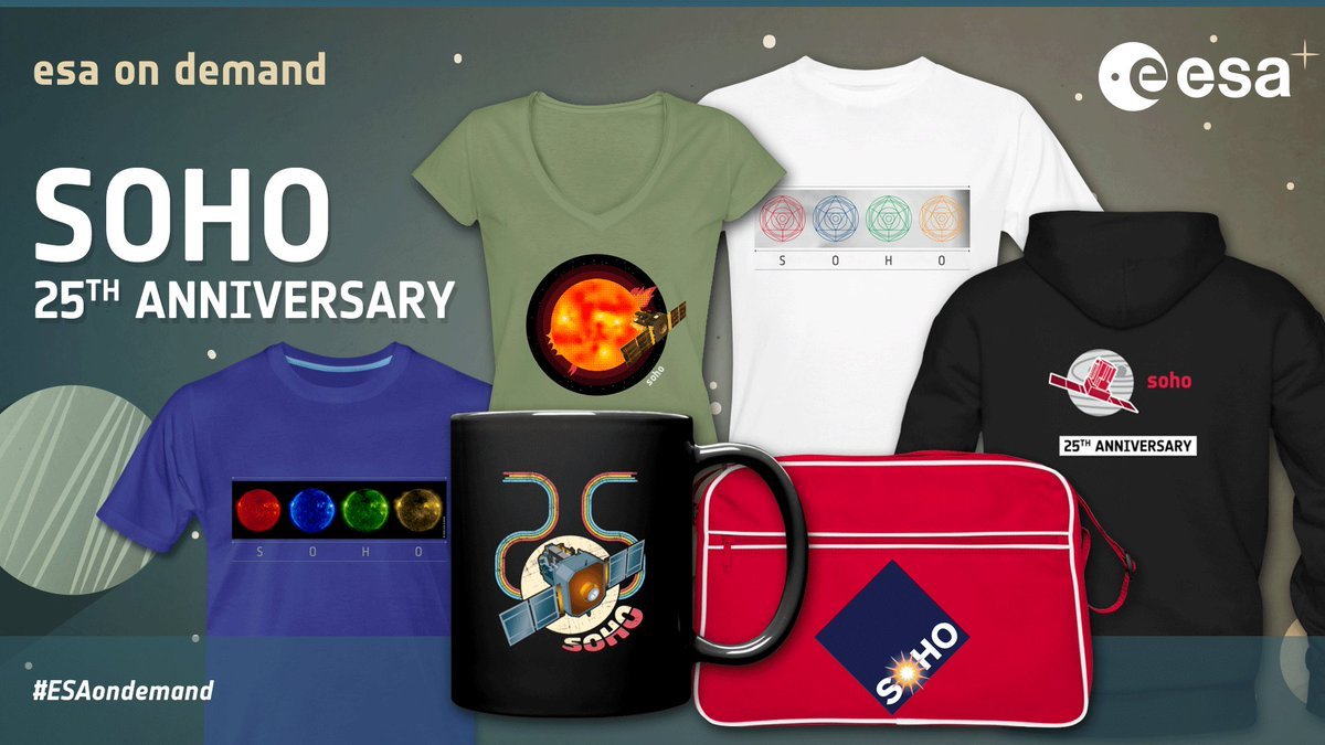 SOHO, the ESA/NASA Solar & Heliospheric Observatory, has given us some of the most thrilling images of our Sun. Its 25th anniversary is on the horizon, so #ESAonDemand has launched new designs for the #SOHO25 collection – PLUS a shop-wide 15% discount! 👉