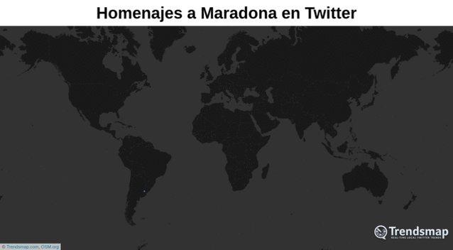 Hasta el momento, hemos visto más de 3 millones de Tweets lamentando la pérdida de #Maradona, la leyenda del fútbol.  Así luce el mapa de los Homenajes a Maradona en Twitter 👇