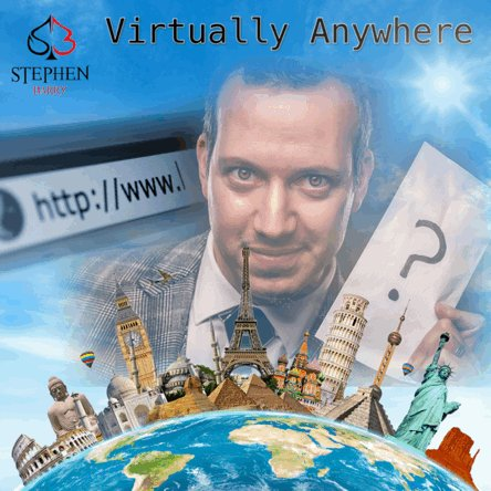 """With the power of the internet I can perform for you """"Virtually Anywhere"""" Any town, Any City, Any Country.  Get in touch to find out more about booking me to perform my interactive virtual show at your next event.  #global #virtual #zoom #newnormal #lockdown #magician #stayhome"""