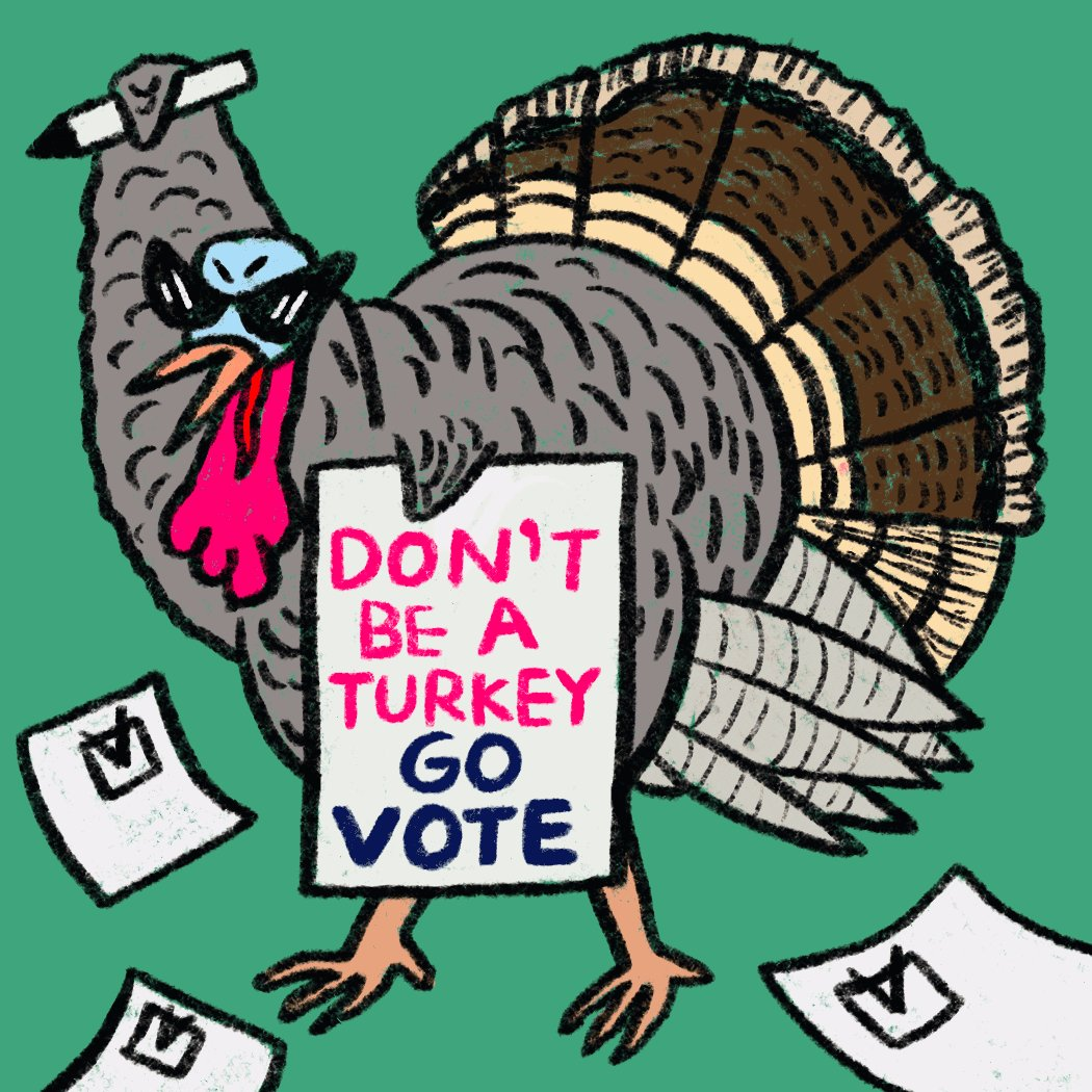 #HappyThanksgiving - here's your reminder that you can #VoteEarly in person in the Georgia runoff election starting on Dec. 14th, and you can (and should) request your ballot NOW 🗳. Don't be a 🦃- request your ballot and make a plan to vote early -