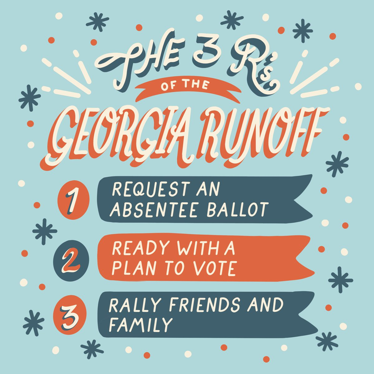And since we're talking about Georgia, don't forget that the DEADLINE to register to vote is DEC. 7th! Less than a week away.  has links to check your registration status, request an absentee ballot, and much more. 🍑⏰  #govote #georgia
