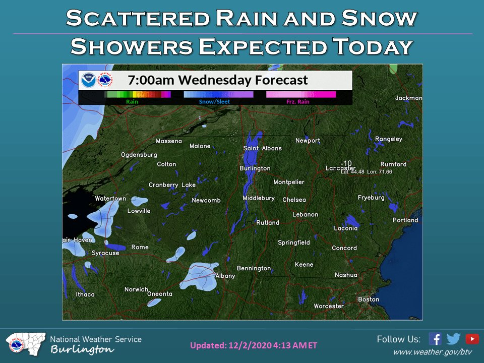Image for the Tweet beginning: Scattered rain and snow showers