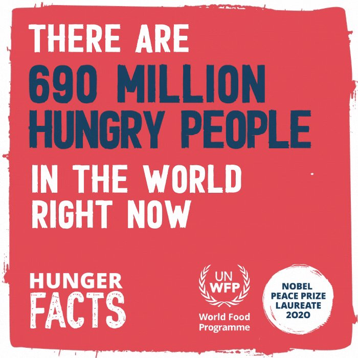 📣 Every one of the 690 million hungry people in the world today has the right to live peacefully and without hunger.  Even in the midst of this pandemic, let's remind ourselves that hunger is a solvable problem. 💪💪
