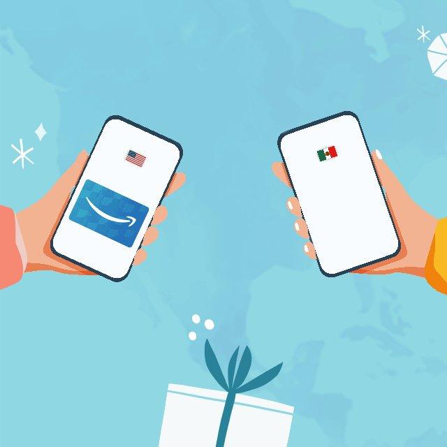 ¡Da y recibe un regalo sin fronteras! Tus amigos y familiares en Estados Unidos pueden agregar fondos directamente a tu saldo de Amazon. Es instantáneo, rápido y fácil. Aprende más sobre cómo funciona en