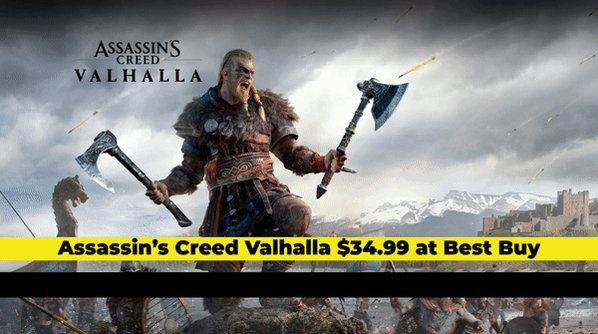 Assassin's Creed Valhalla is $34.99 at Best Buy, today only!  FLASH GIVEAWAY!  Follow us & Retweet for a chance to win a $60 Best Buy Gift Card! Ends TONIGHT, 9PM EST. #sponsored