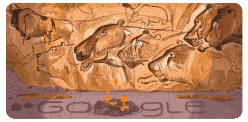 26 years ago today, 3 scientists found a cave with:  🖌1,000+ drawings  🦴~4,000 animal fossils  👣Human footprints    This discovery, known as Grotte Chauvet, forever altered the understanding of prehistoric man's artistic expression 🎨  #GoogleDoodle →