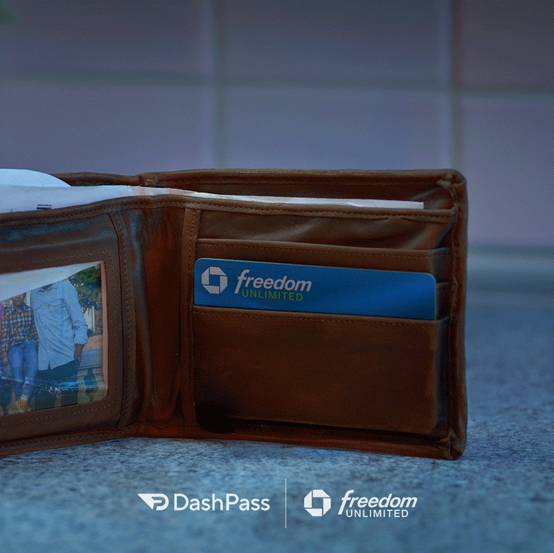 With a $0 delivery fee, your wallet will thank you.   DashPass is free for three months when you sign up with any Chase Freedom Card. Terms apply: