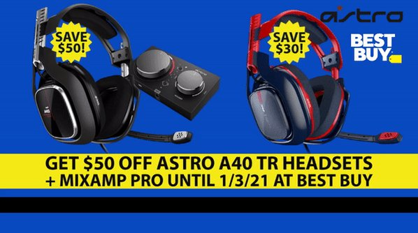 Save $30 off the Astro A40 TR Headset and $50 off the Astro A40 TR Headset + MixAmp Pro, now until 1/3 at Best Buy.  Follow us & Retweet for a chance to win a $120 Best Buy Gift Card! Ends 1/3, 9PM EST. #sponsored